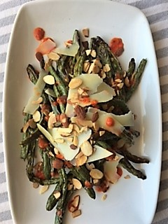 Charred Green Beans with Roasted Red Pepper Pesto and Fresh Herbs