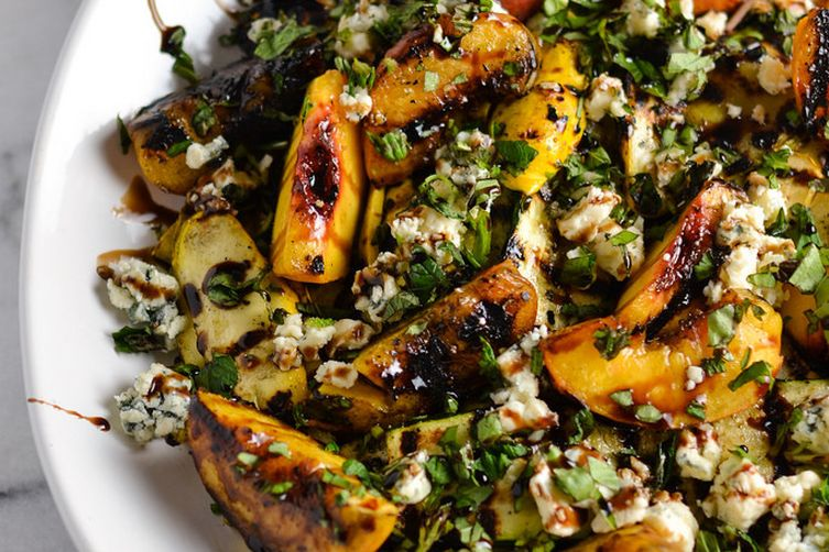 Grilled Peaches with Wild Arugula, Bleu Cheese and Balsamic Glaze