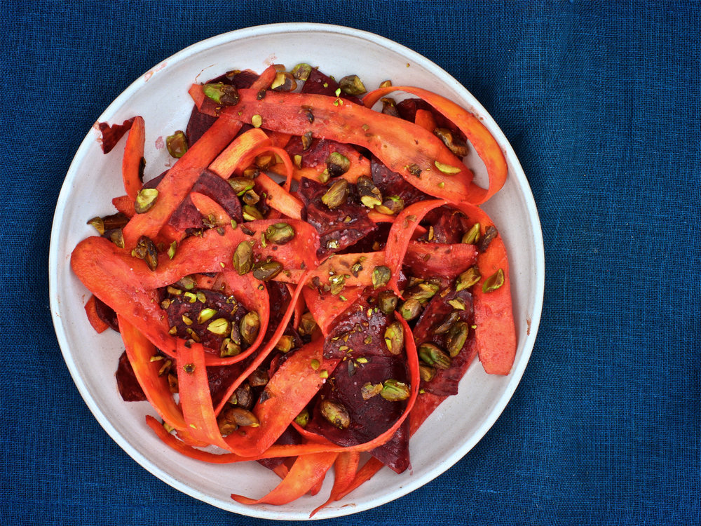 Curried Beets and Carrots with Pistachios
