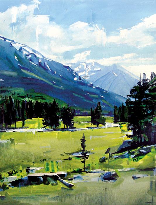 "David Shingler, Buena Vista Mountains. CO, oil on wood, 48"" x 36"""