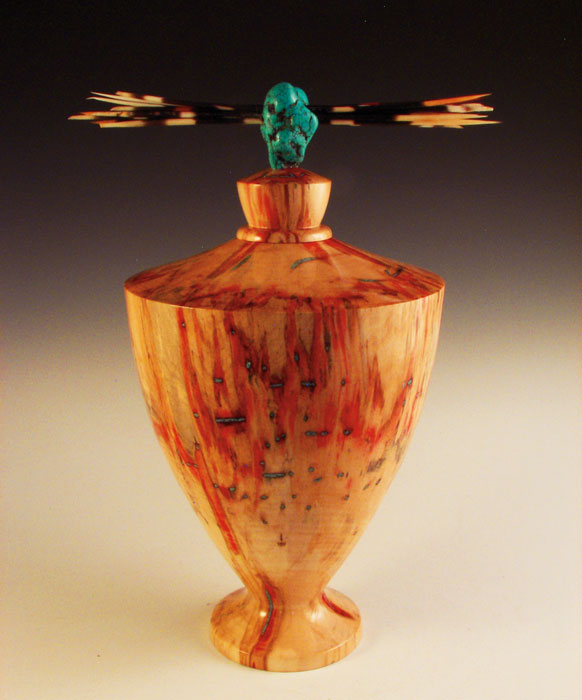 "Brian Sykes, Box Elder with Turquoise and Porcupine Quills, wood, turquoise, and porcupine quills, 15"" x 8"""