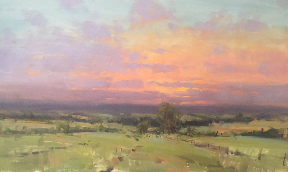 "1. Jason Saunders,  Afternoon Light , oil, 24"" x 40"""