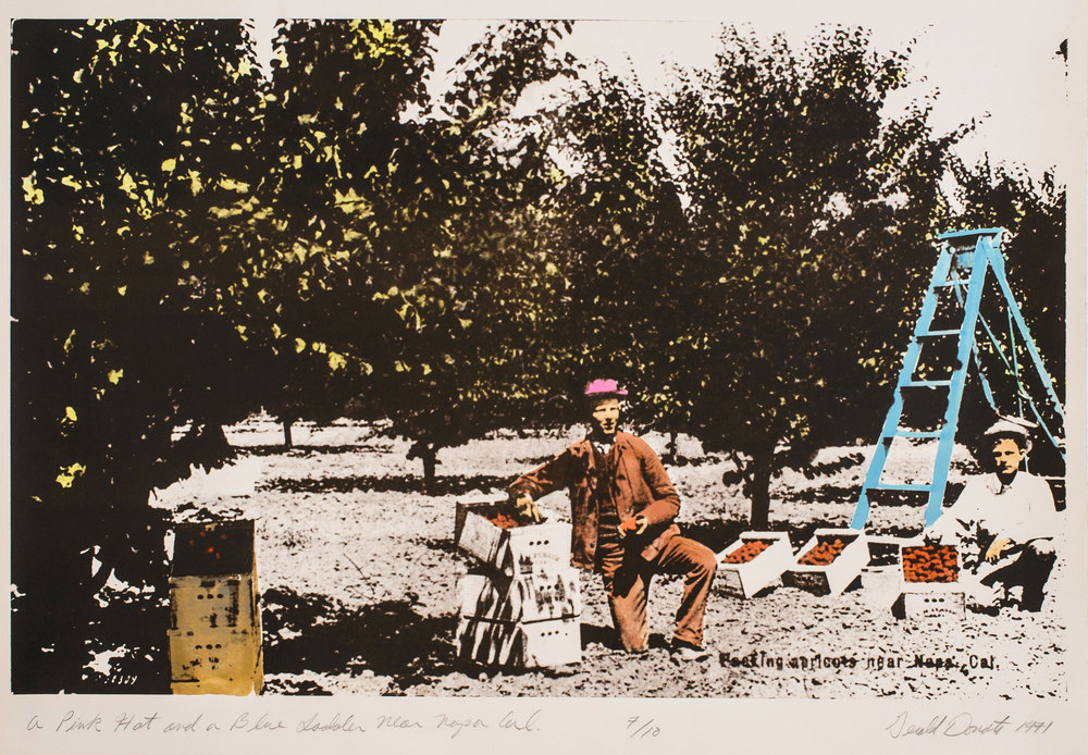 "Gerald Donato, A Pink Hat and Blue Ladder Near Napa, Cal., 1971, photo-lithograph, 22 1/4"" x 29 3/4"""