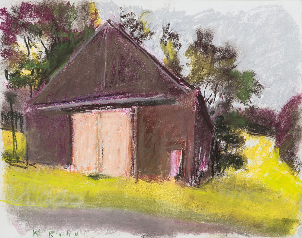 "Wolf Kahn, Barn Facing A Road, 2007, pastel on paper, 14"" x 17"""
