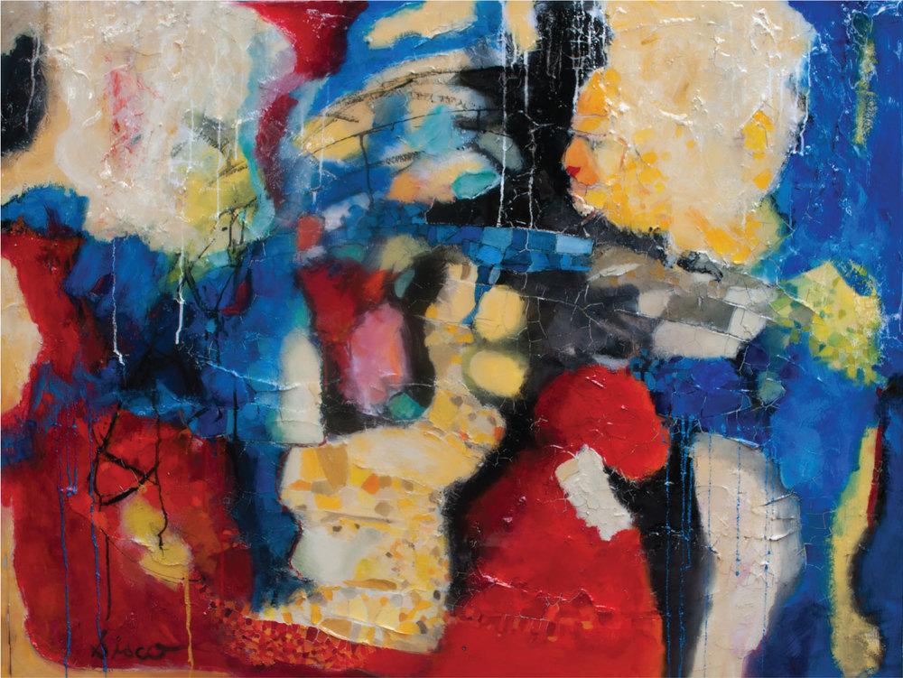 "Deborah Sisco,  Pieces of Me , oil and texture on panel, 36"" x 48"""