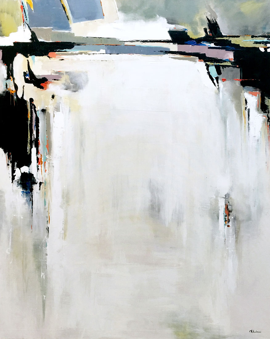 "Aziz Kadmiri,  Niagra , acrylic on canvas, 60"" x 48"""