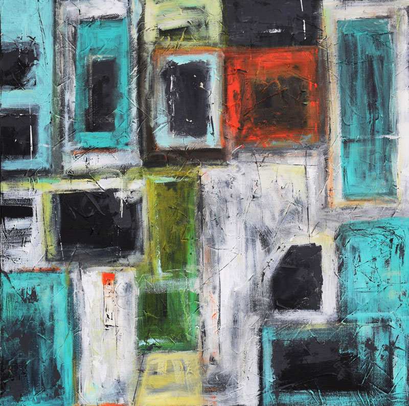 "Shanon Schneider,  Windows to the City , mixed media, 20"" x 20"""
