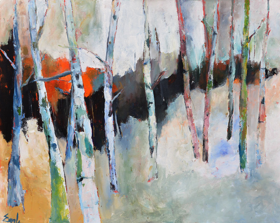 "Maureen Engle,  Beautiful Birches , acrylic on canvas, 48"" x 60"""