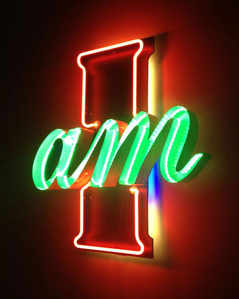 "Nate Sheaffer, I Am, neon, LED, and salvaged metal, 36"" x 24"""