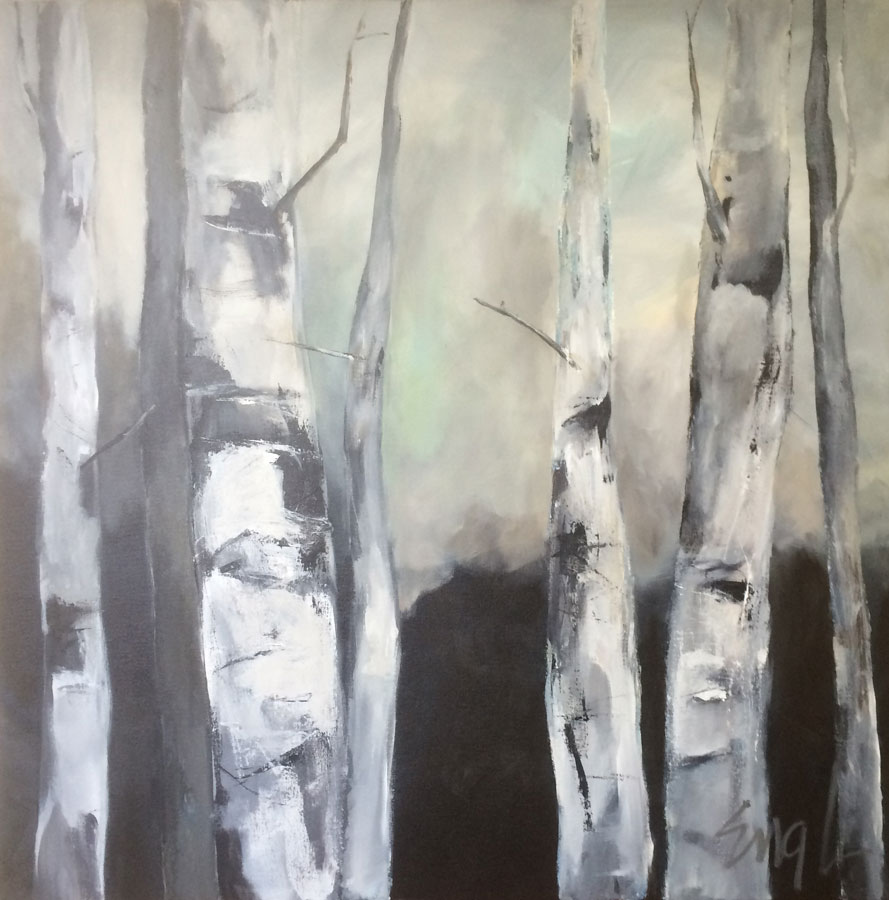 "Maureen Engle,  Quiet (Neutral Birches) , acrylic on canvas, 36"" x 36"""