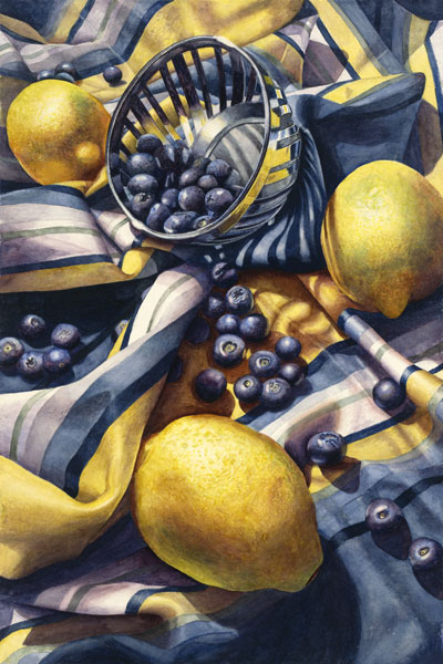 Marsha Chandler, Blueberries and Lemons,2016, watercolor on paper, 22 x 15