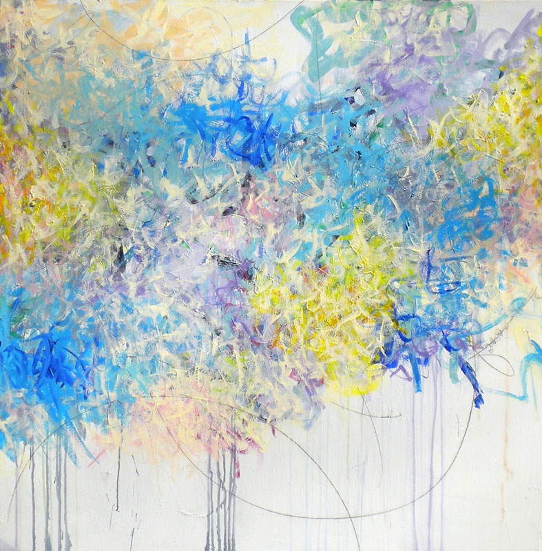 """Don Mertz, Explosion of Color, mixed media on canvas, 60"""" x 60"""""""