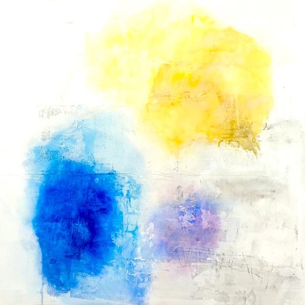 """Sharon Kelly,  The Beach was Still Deserted , acrylic mixed media, 48"""" x 48"""""""