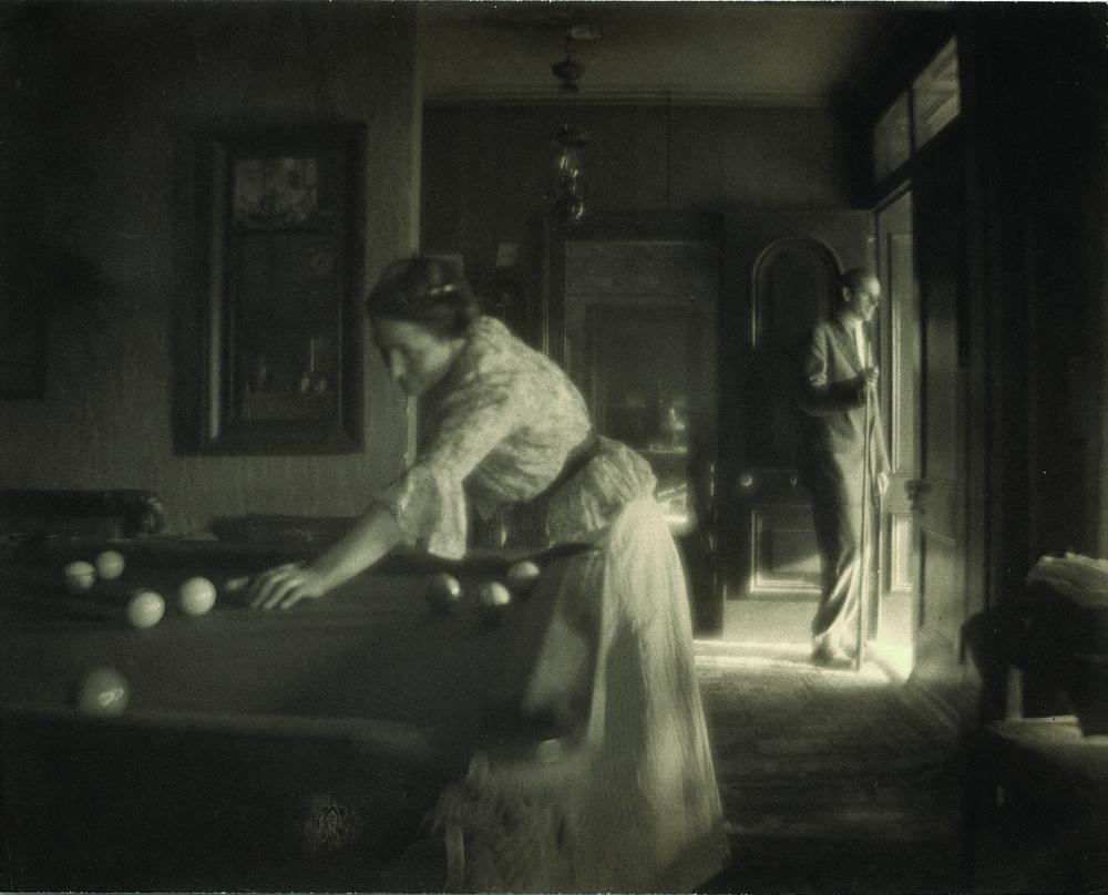 Gertrude Käsebier (1852-1934), Untitled (Billiard Game), circa 1909, Platinum print, 7 5/8 x 9 1/2 inches