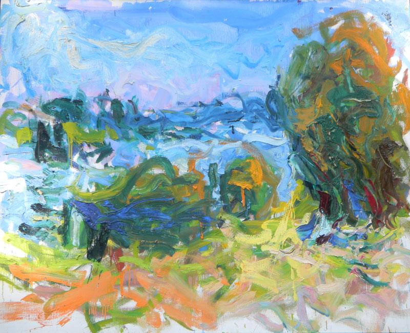 """Carl Plansky, Large Hill, Le Roche Guyon, 48"""" x 60"""""""