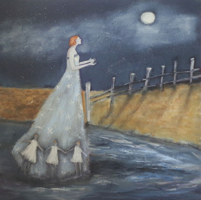 "Jeanie Tomanek, Asking Questions of the Moon,  oil on canvas, 30"" x 30"""