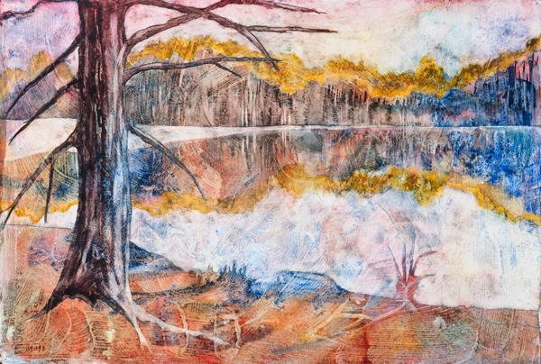 "Barbara Rohde, Mountain Lake, 2016,watercolor on gesso, 15"" x 22"""