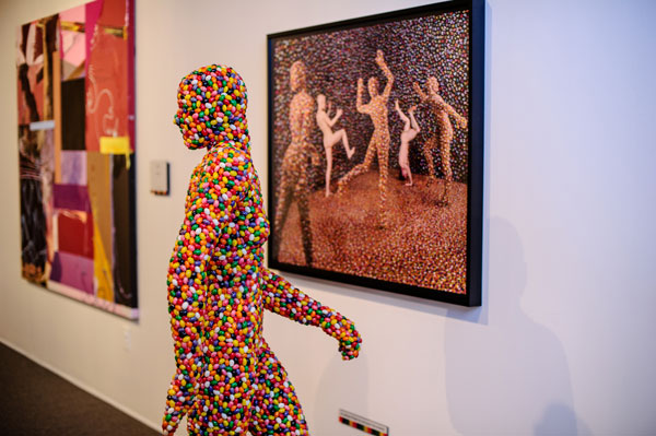 Skoglund, Sandy (b. 1946),  Shimmering Madness , 1998, Jellybeans, wood, plastic, metal and photograph, Private Collection on view at Atlanta Collects: Contemporary Art Treasures from Atlanta's Private Collectors, Breman Museum.