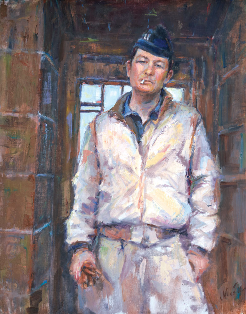"Nicole Kennedy, Captain Tom, 2017, oil on linen, 20""x16"" Signature Member of the American Impressionist Society"