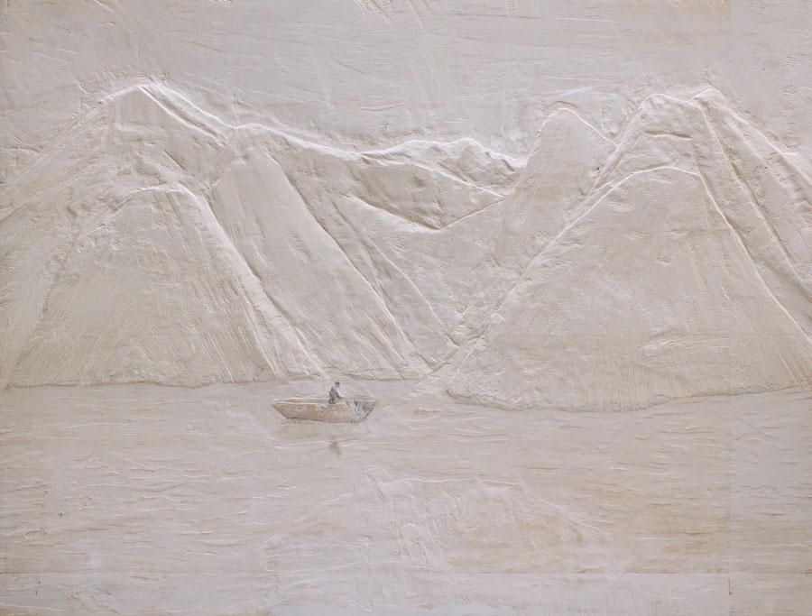 "Raúl Diáz,  Near Unquillo , 2016,mixed media on wood panel,56 1/4"" x 74 5/8"""