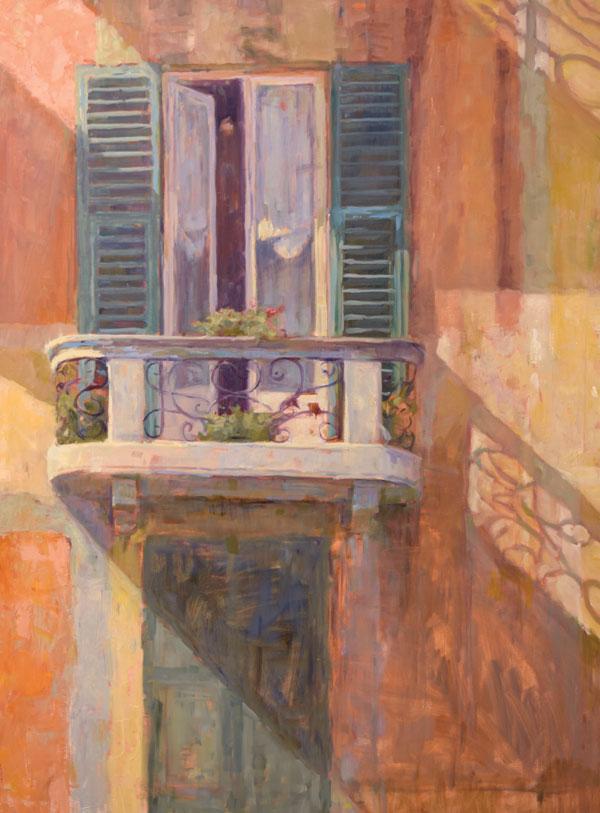 "Nicole Kennedy, Most Beautiful Balcony, oil on linen, 48""x36"""