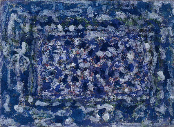 "Richard Pousette-Dart (American, 1916-1992)  Cereulean Garden , 1945, watercolor on paper, 11""x14"" Collection of Jeanne and Carroll Berry"