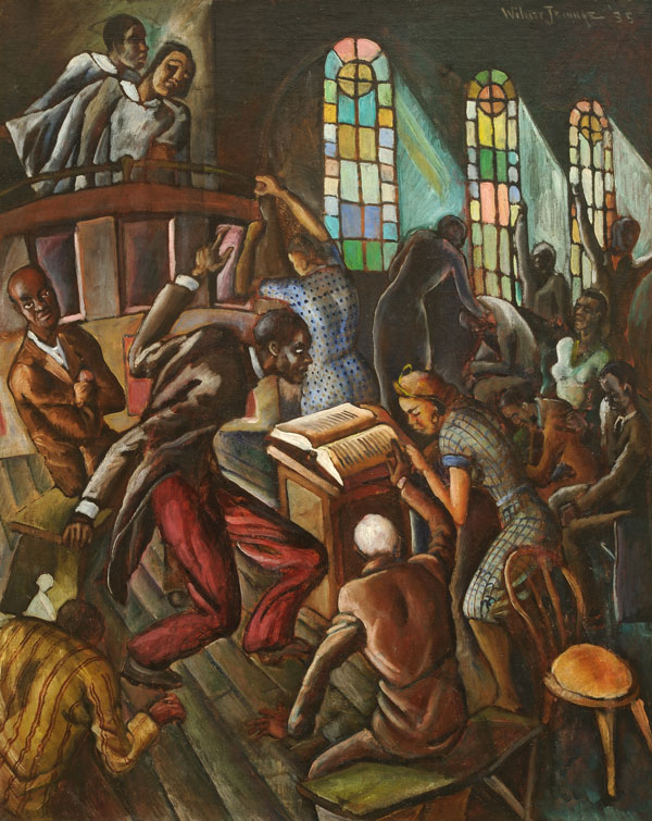 "Wilmer Jennings (American, 1910-1990) De Good Book Says (Church Scene), 1935, oil on canvas, 30 1/4""x 24"""