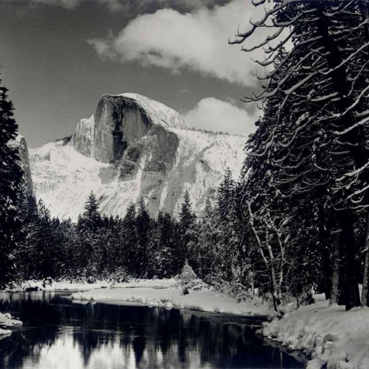 Ansel Adams,  Half Dome, Merced River, Winter, Yosemite National Park, California,  circa 1938, gelatin-silver print, 14 3/4 x 19 1⁄4 in., © 2015 The Ansel Adams Publishing Rights Trust
