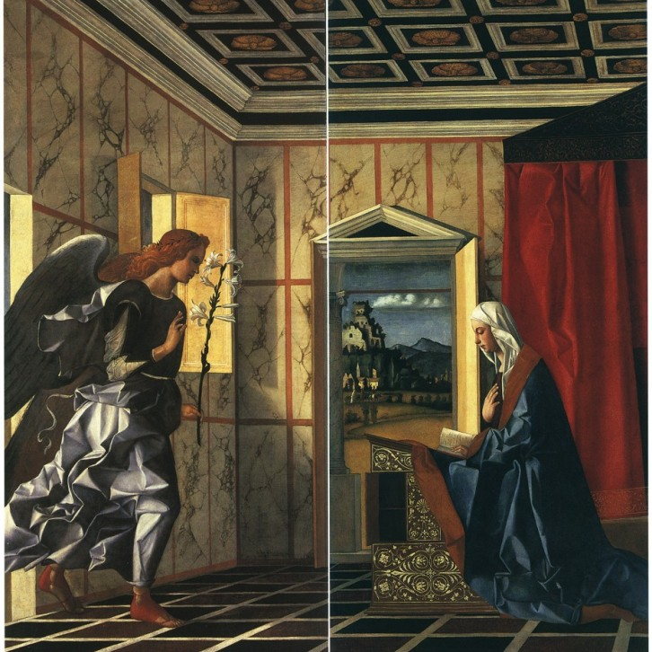 Giovanni Bellini,  The Annunciation , early 1500s, oil on canvas, 88 x 42 in. each, Gallerie dell'Accademia, Venice, Italy