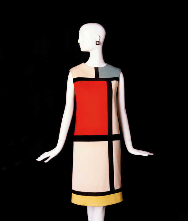 Hommage to Piet Mondrian , Yves Saint Laurent (French, 1936-2008), cocktail dress. Fall-Winter 1965 haute couture collection. |  Evening Gown , Yves Saint Laurent (French, 1936-2008). Fall-Winter 1983  Paris  haute couture collection. |  Elephant Blanc , Yves Saint Laurent (French, 1936-2008), short evening dress. Spring-Summer 1958  Yves Saint Laurent for Christian Dior  haute couture collection.  © Fondation Pierre Bergé - Yves Saint Laurent, Paris. Photos: Alexandre Guirkinger