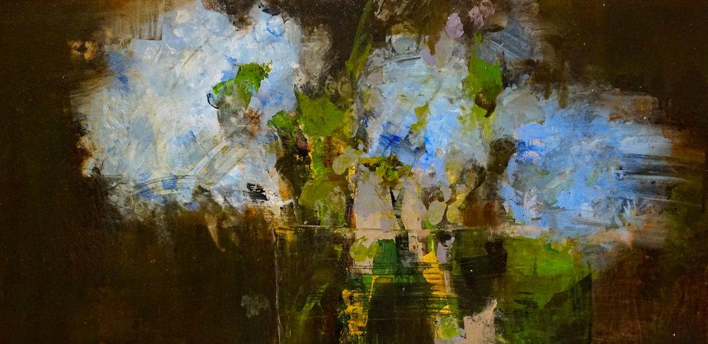 "Debrah Hill, Blue Floral No. 4, 2017, oil on board, 12""x24"""