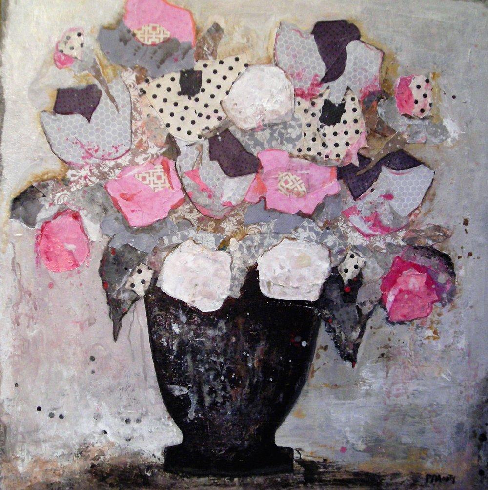 "Paula Montgomery, Summer Obsequies, 2016, acrylic & paper, 24""x24"""