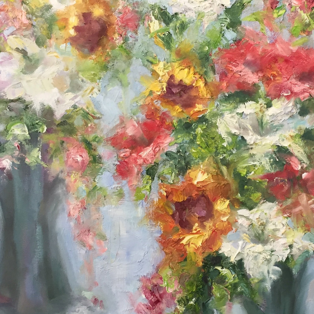 "Eileen Hendren, Profusion, 2017, oil on canvas, 15""x30"""