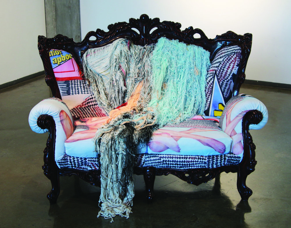 Julia Megan Burchett (with Maddie Zerkel),  Hours We Could Have , 2016. Loveseat upholstered with custom-printed fabric from original watercolor, woven cotton and synthetic yarns, 48 x 60 x 26 inches.
