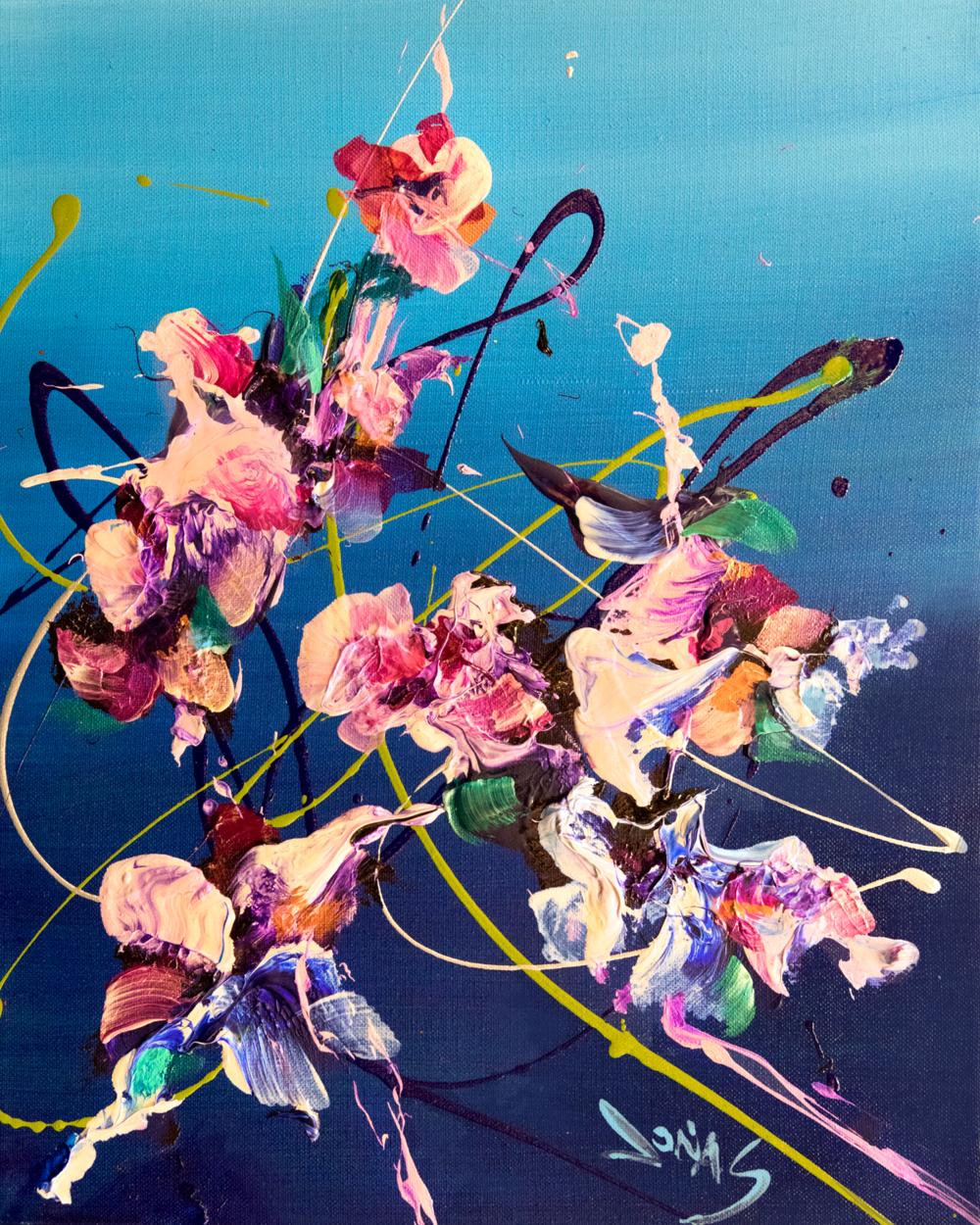 "Jonas Gerard, Floral Fantasy #3, acrylic on jute, 16"" x 20"""