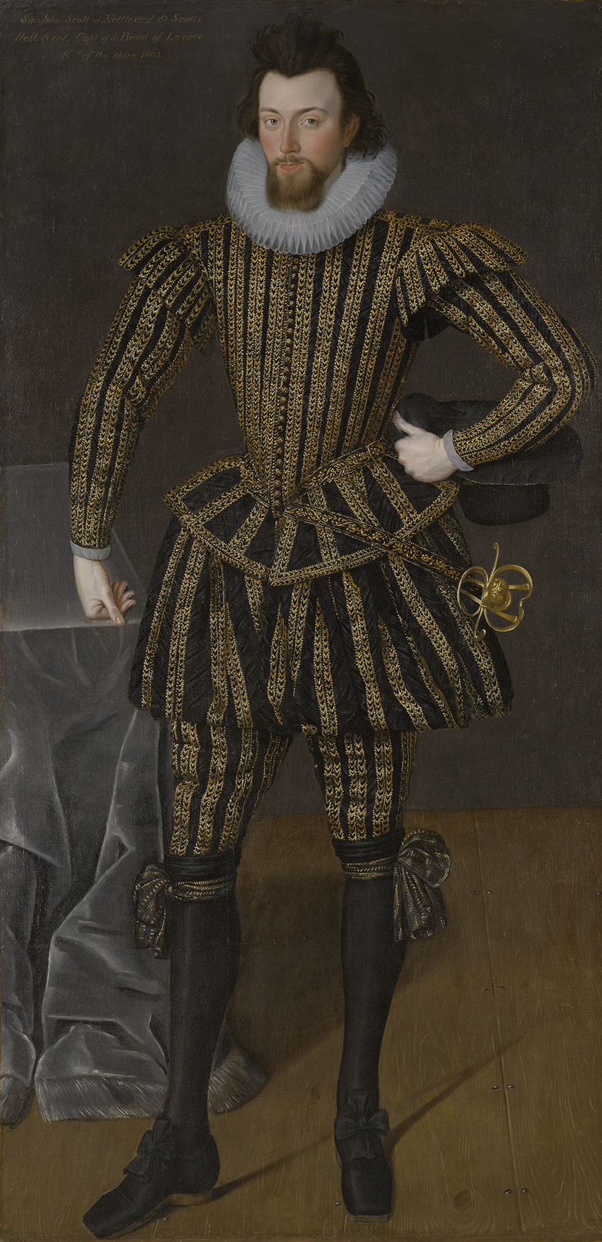 British School, Portrait of a Gentleman, probably Sir John Scott (circa 1564–1616) of Nettlestead, Kent, circa 1600–05, oil on canvas, 77 3/4 x 38 1/4 in., Gift of Mr. and Mrs. James MacLamroc