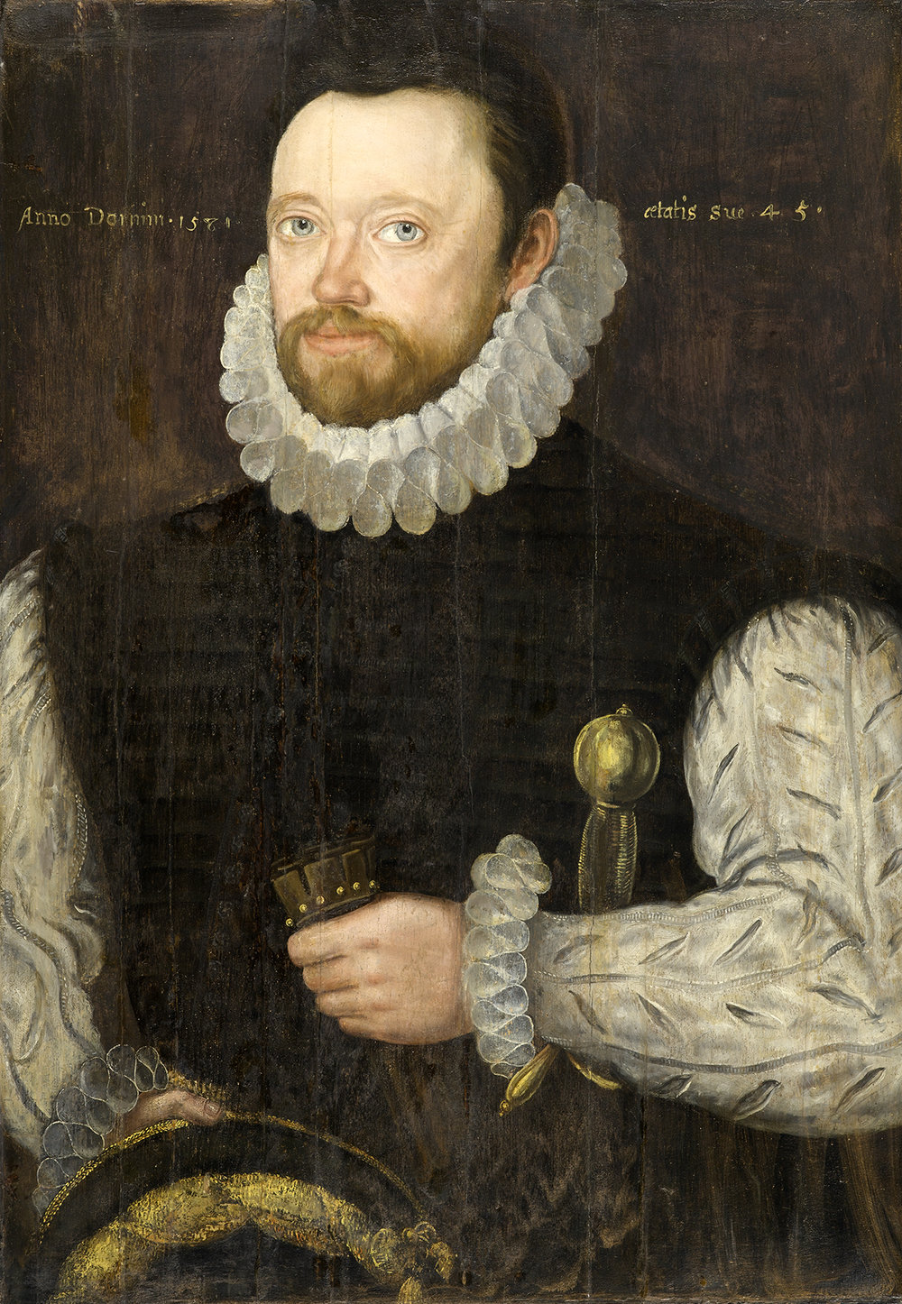 British School, Portrait of a Gentleman, possibly Reginald Scott (circa 1537–99), 1581, oil on cedar panel, 27 x 18 in., Gift of Mr. and Mrs. James MacLamroc