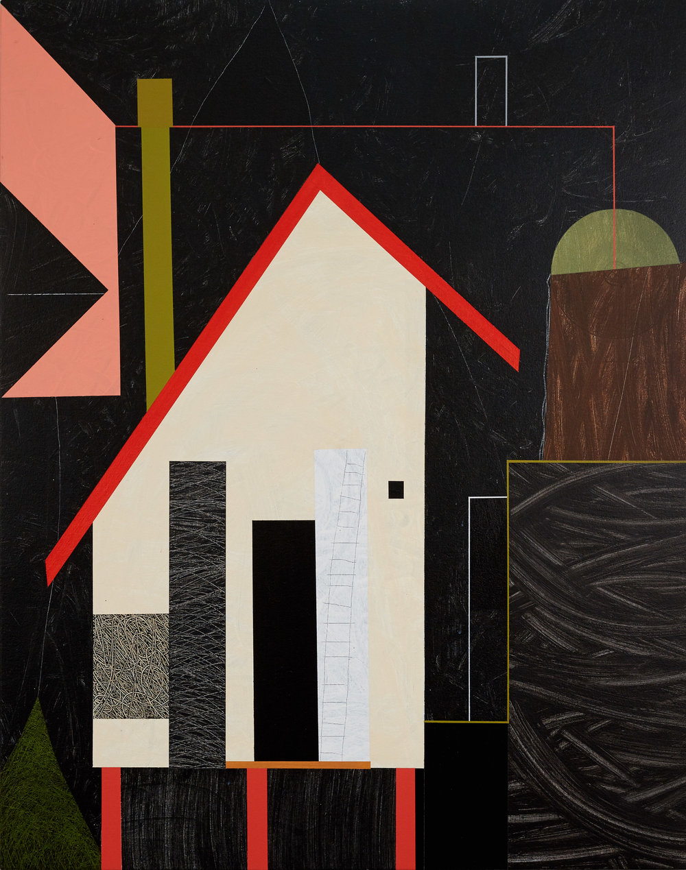 Houses, 2017, acrylic on canvas, 47½ x 37½ inches