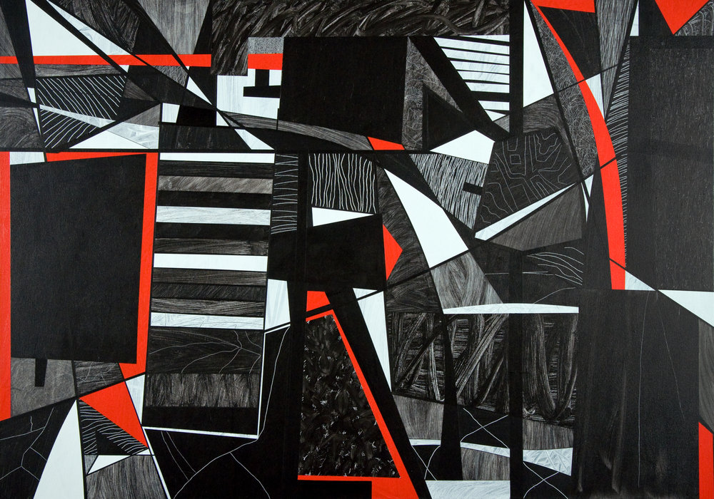#1 (from the series Red, White, and Black) 2010, acrylic on canvas, 48x68 inches