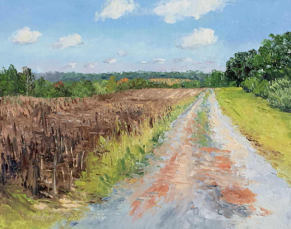 "Linda Hollett-Bazouzi,  Blackstone, Bright September Day ,  oil on canvas, 8"" x 10"""