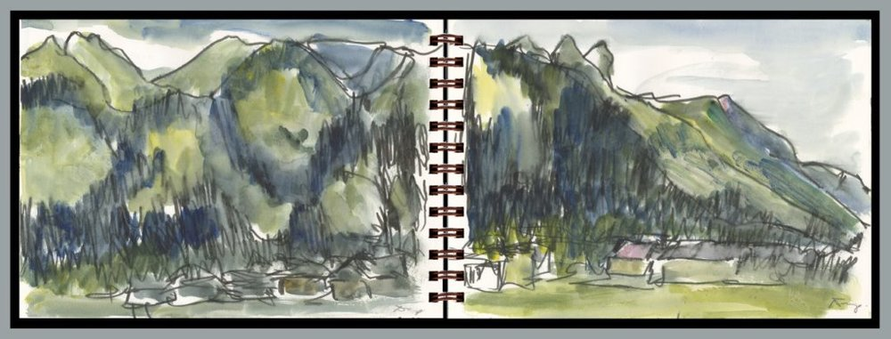 "Nerys Levy, Teton Village, Jackson, Wyoming, 2016, diptych, mixed media water color and water soluble pen on paper, 7"" x 20"""
