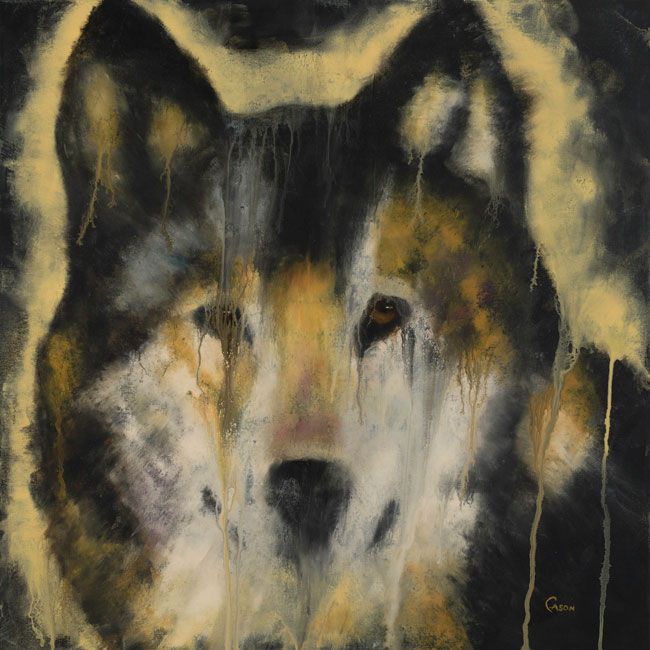 "Cason Rankin, Wilderness Silence of Wolf, acrylic on canvas, 36"" x 36"""