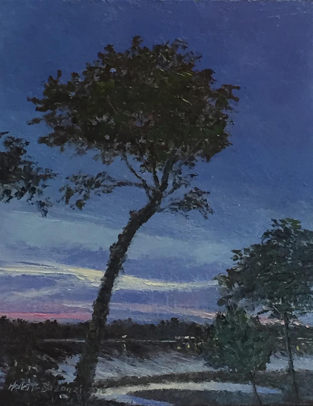 "Linda Hollett-Bazouzi, Twilight on the York River, oil on canvas, 10"" x 8"""