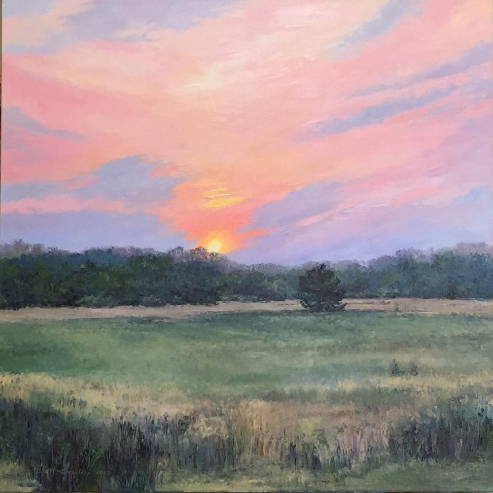 "Linda Hollett-Bazouzi, Brook Run,Edge of Twilight, oil on canvas, 36"" x 36"""