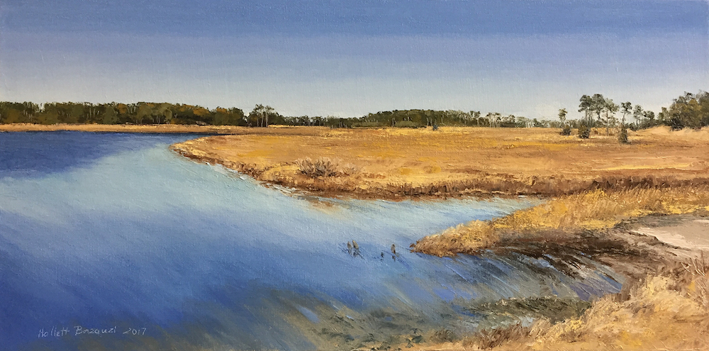 "Linda Hollett-Bazouzi,New Point Comfort, High Tide #2, oil on canvas, 12"" x 24"""