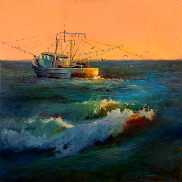 """Janet B Sessons, Morning Catch, oil, 30"""" x 30"""""""