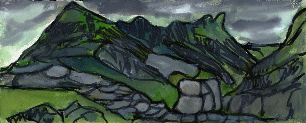 "Pen-y-Pass 1,   Snowdonia, Wales , 2013, mixed media  color and water soluble pen on paper, 3.9"" x 9.8"""