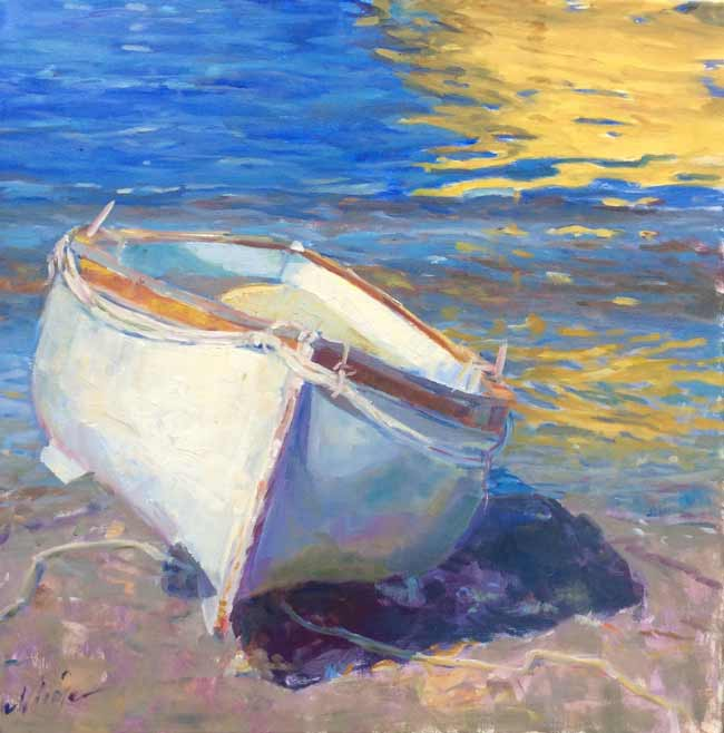 "Nicole White Kennedy,  Beached in Capri,  oil, 20"" x 20"""
