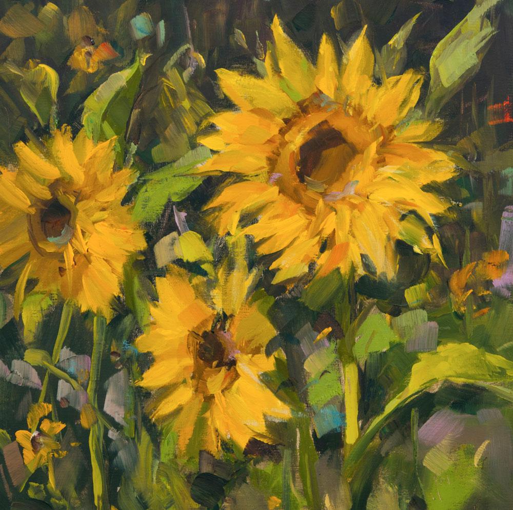 "Stephanie Amato, Sunflowers in Morning, 2017, oil on linen, 10"" x 10"""