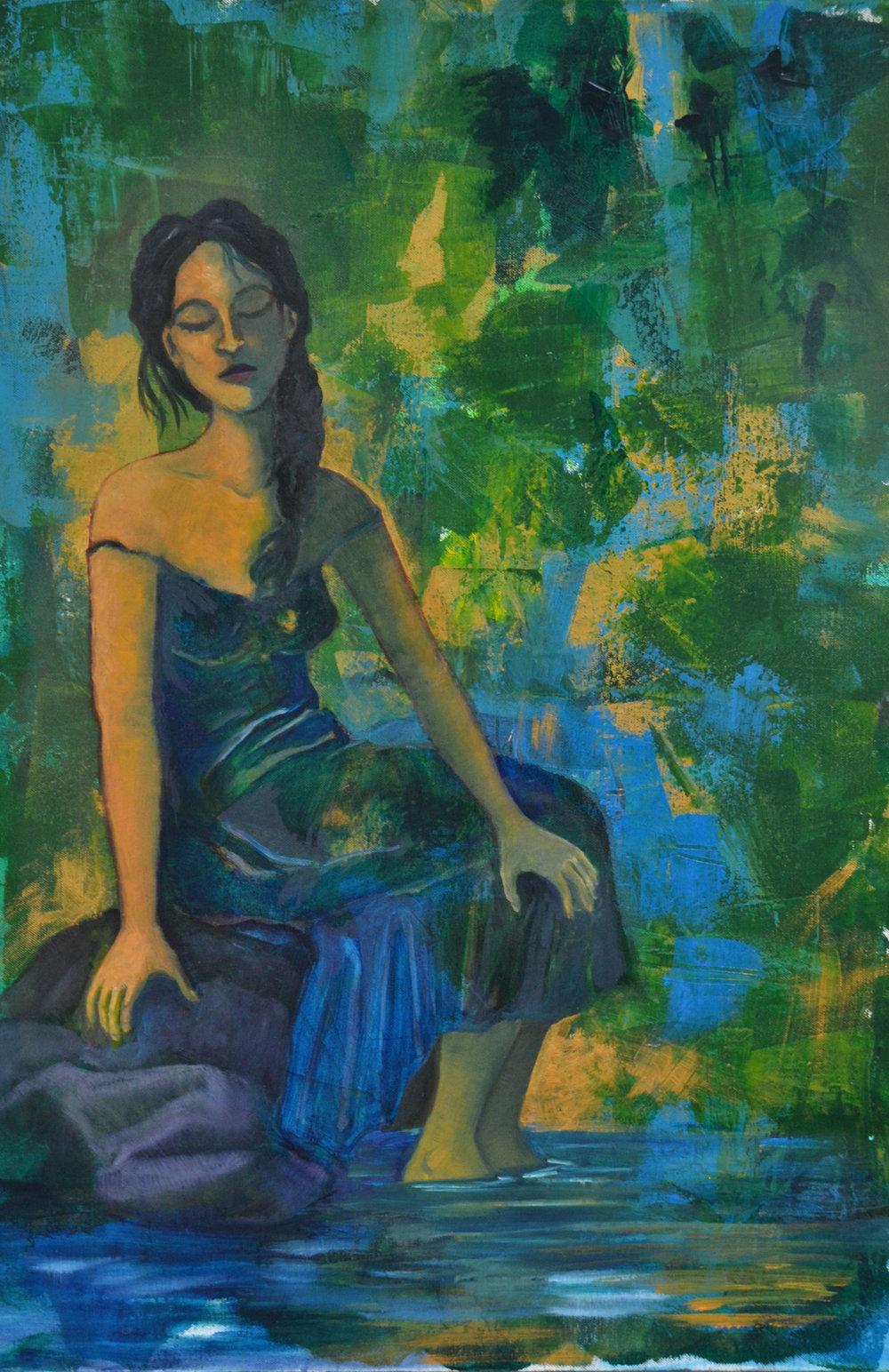 "Sherri Richards,August Afternoon, 2014, oil/acrylic on canvas, 36"" x 24"""